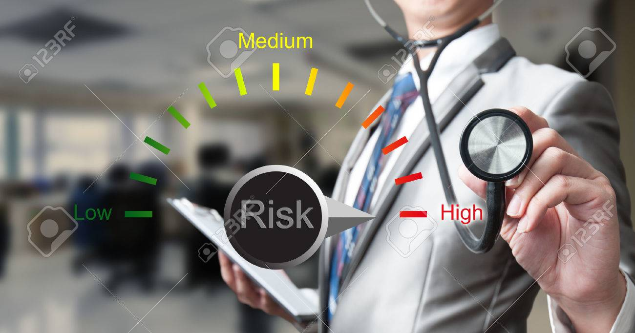 Business man with stethoscope with risk management concept - 37628840