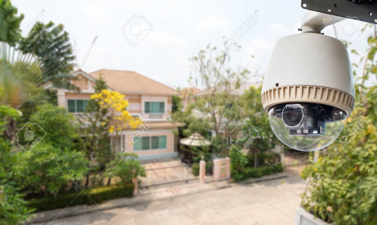 Home Security Comcept, CCTV Camera Or Surveillance Operating In Village  Stock Photo   64327360