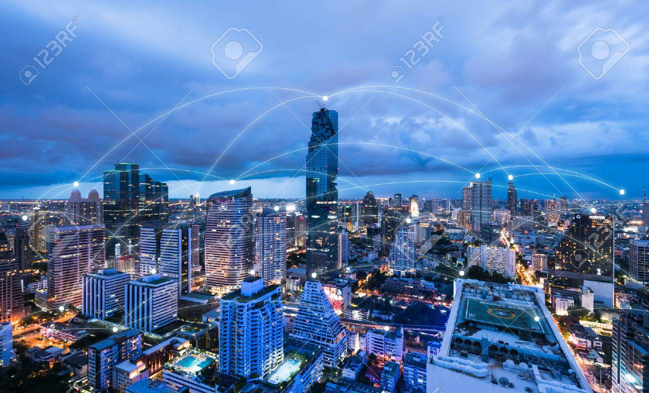 Blue high-tech tone of cityscape conneted line, technology concept, internet of things conceptual - 66051656