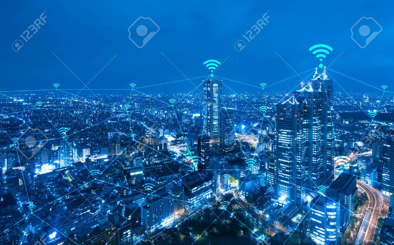 Cityscape with wi-fi connection conceptual,information communication technology concept - 65939238