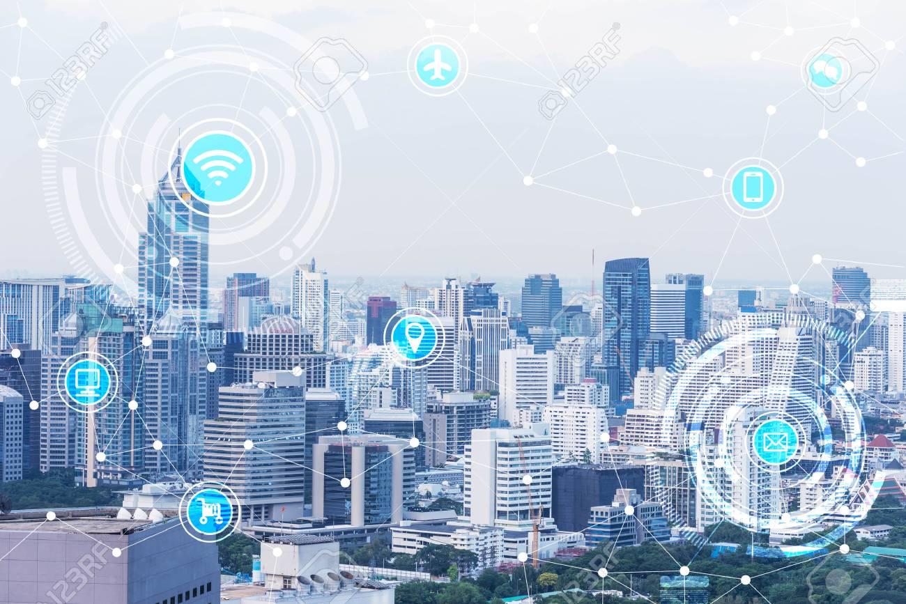 smart city and wireless communication network, IoT(Internet of Things), era of internet, internet of every things, internet in every day lifes - 66661796