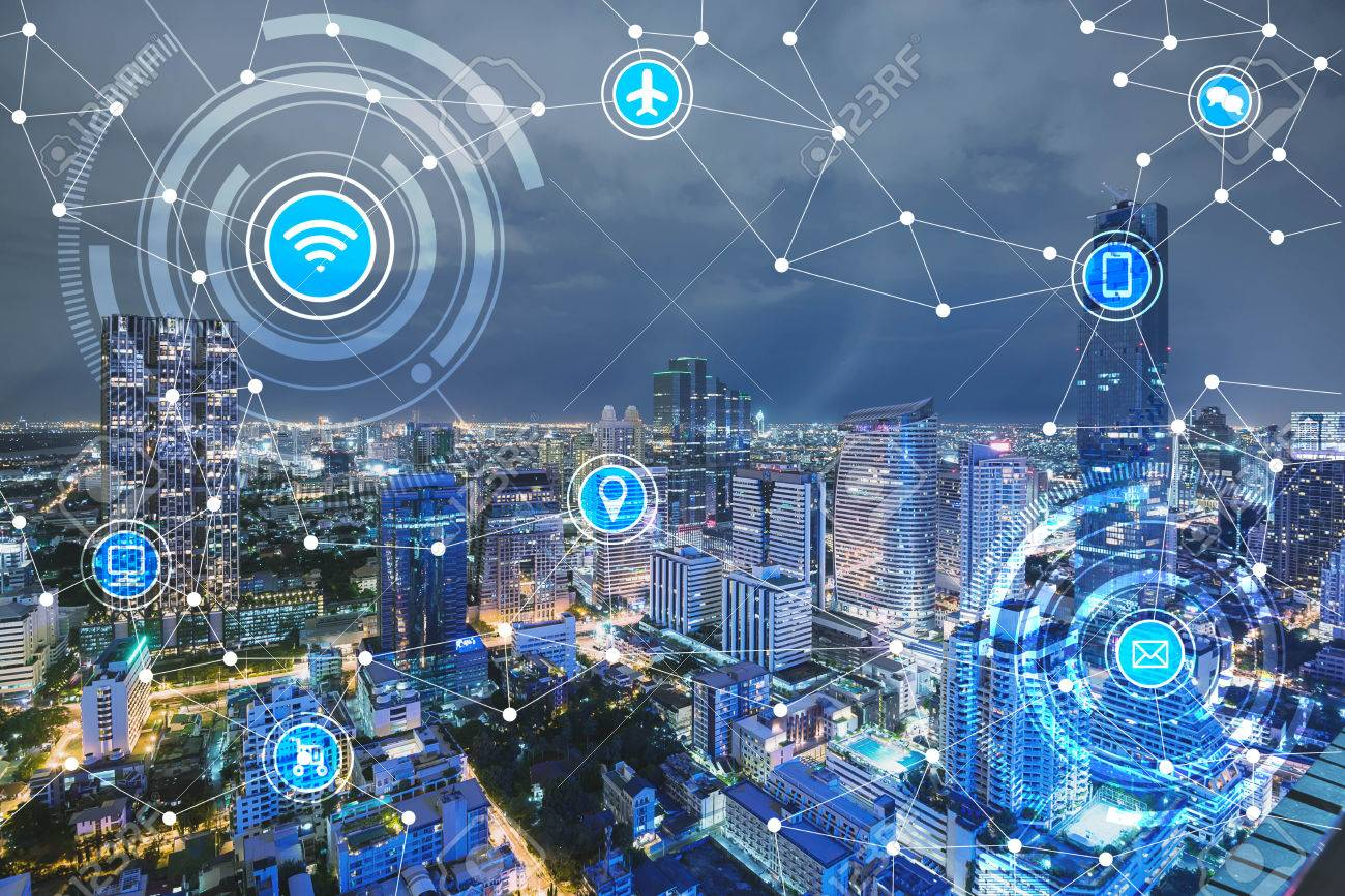 smart city and wireless communication network, IoT(Internet of Things), era of internet, internet of every things, internet in every day lifes - 66661798