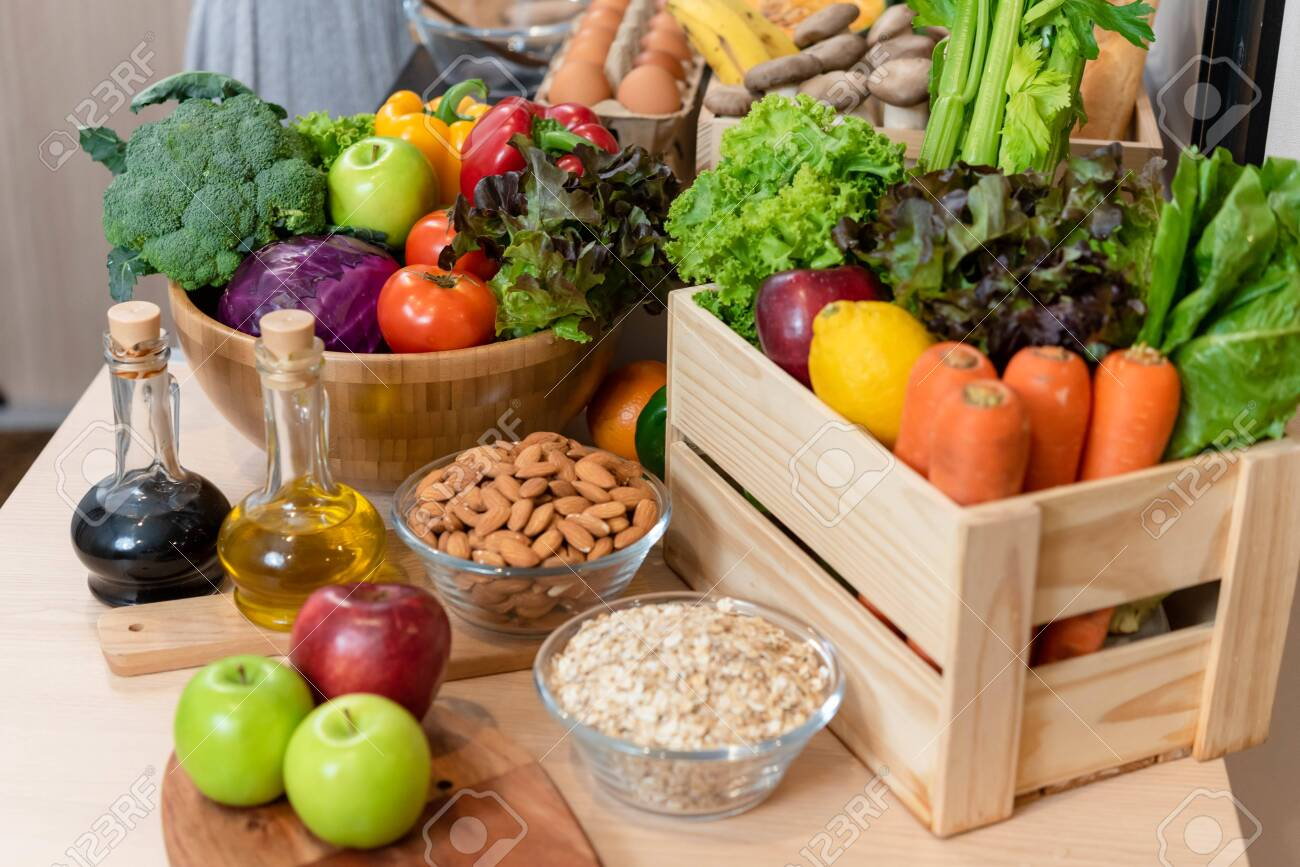 Pile of healthy food consist of vegetables, fruits and nuts - 125654619