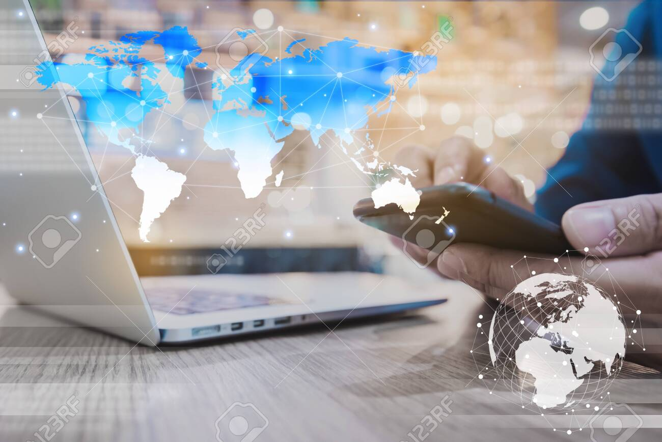 Globalization conceptual of technology use laptop and smartphone, wireless internet connection every where - 131772322