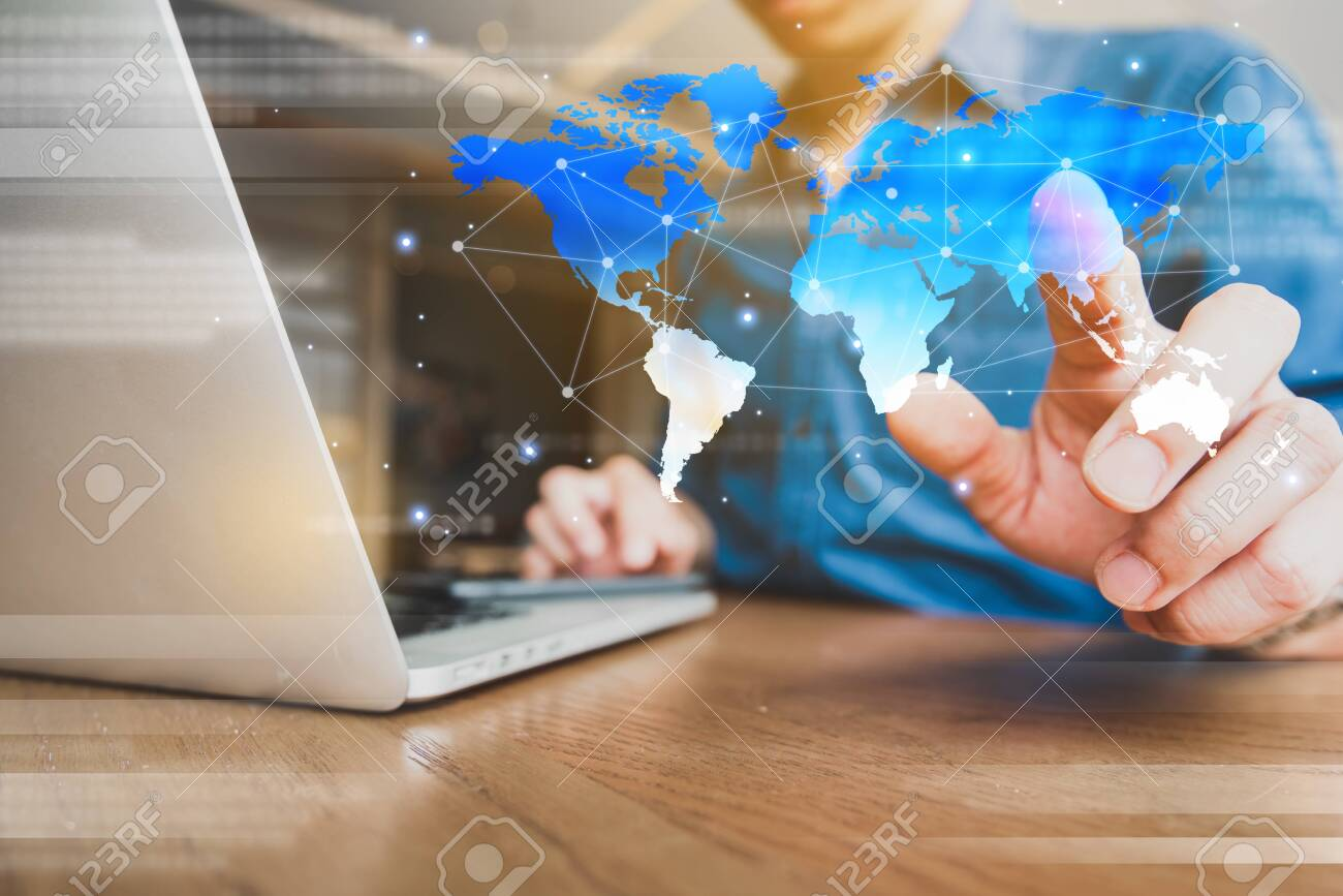 Globalization conceptual of technology use laptop and smartphone, wireless internet connection every where - 131772356
