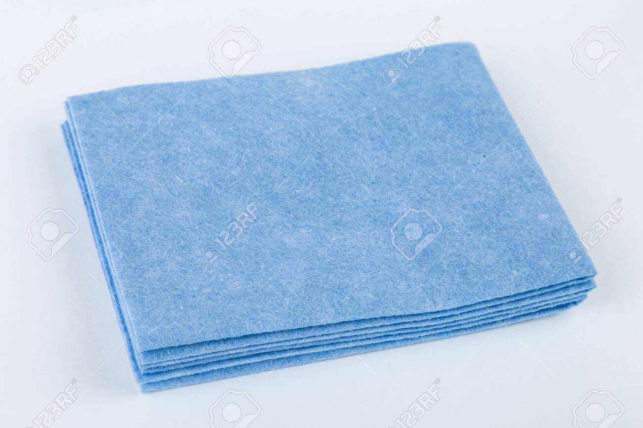 Kitchen rag for cleaning blue color on an isolated background. - 144771041