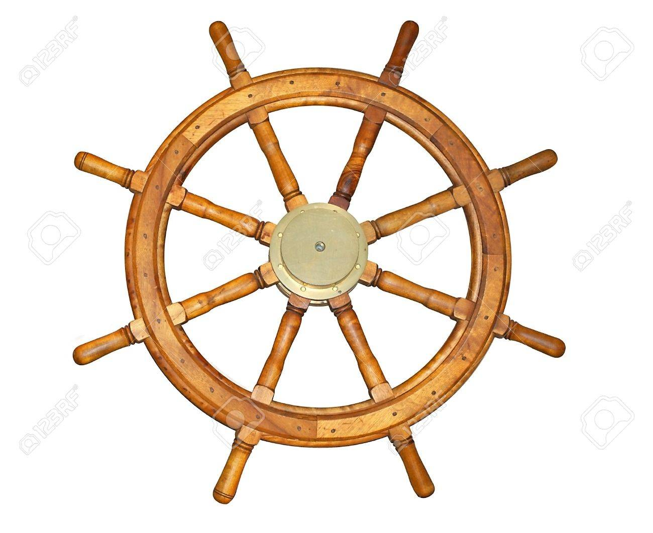 Old style ship wheel isolated on white. Includes clipping path. Stock Photo - 10775822