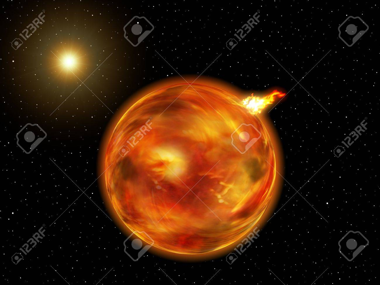 View of a planet of fire in a fantasy galaxy. Stock Photo - 10775826
