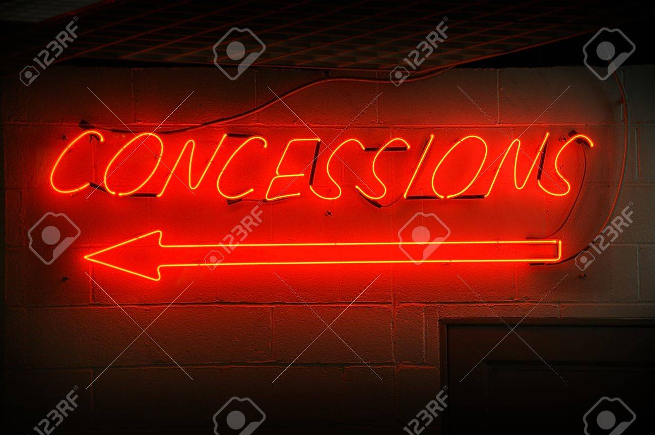 Red neon concessions signs with arrow. Stock Photo - 10887918