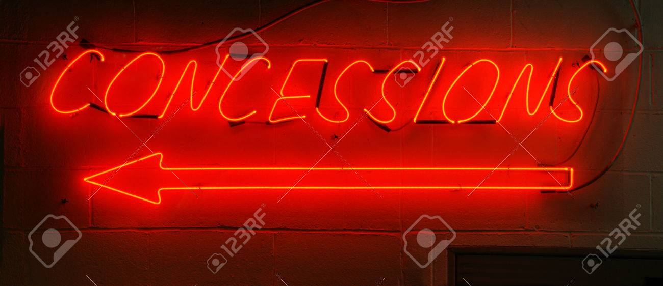Neon red concessions sign typically found in arenas. Stock Photo - 34718278