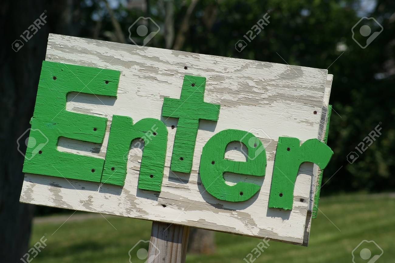 Handmade rustic outside enter sign made of wood. Stock Photo - 34718279