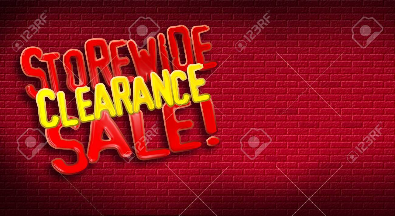 Storewide Clearance Sale logo on brick background. Designed for use as postcard promoting January or After Christmas Sale for a retail etsablishment. Stock Photo - 35100757