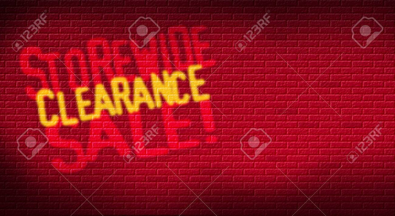 Storewide Clearance Sale logo on brick background. Designed for use as postcard promoting January or After Christmas Sale for a retail etsablishment. Stock Photo - 34718283