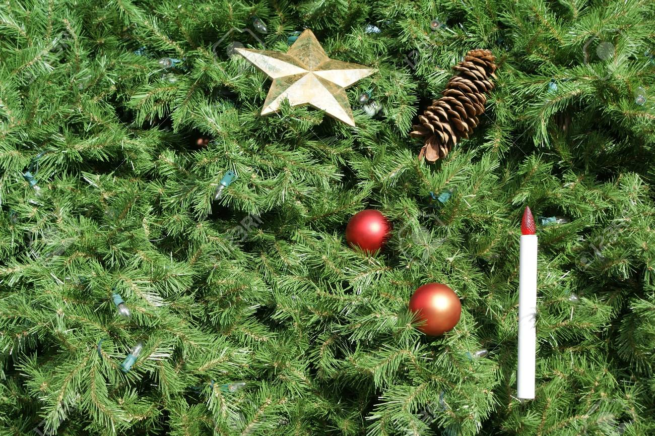 Chritmas tree background with ornaments and lights. Great for use as background. Stock Photo - 34726336