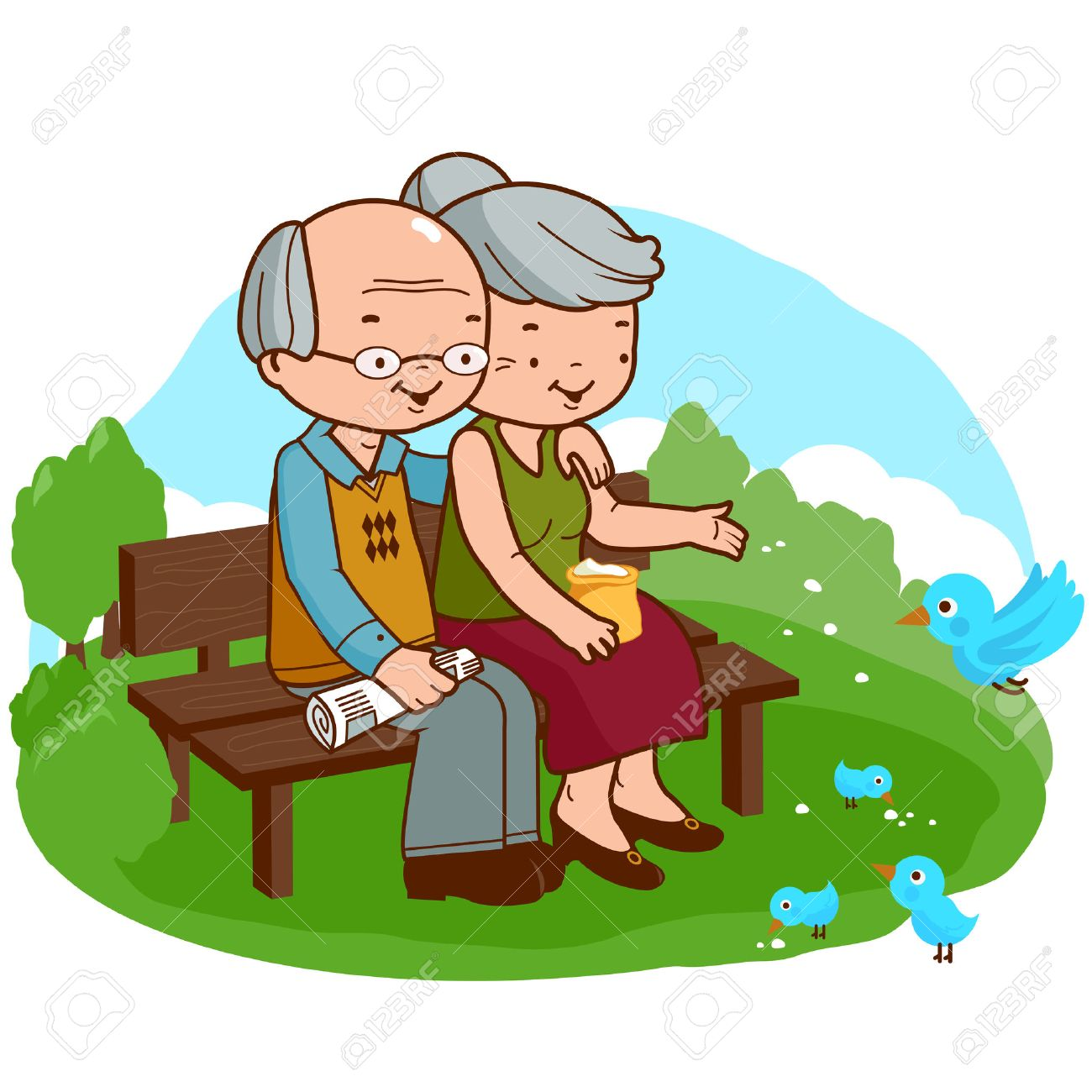 old couple at the park royalty free cliparts vectors and stock rh 123rf com old couple clip art in the public domain old couple clip art black and white