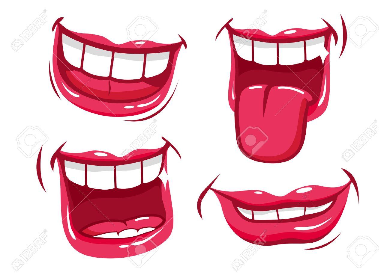Smiling lips vector set - 43530614