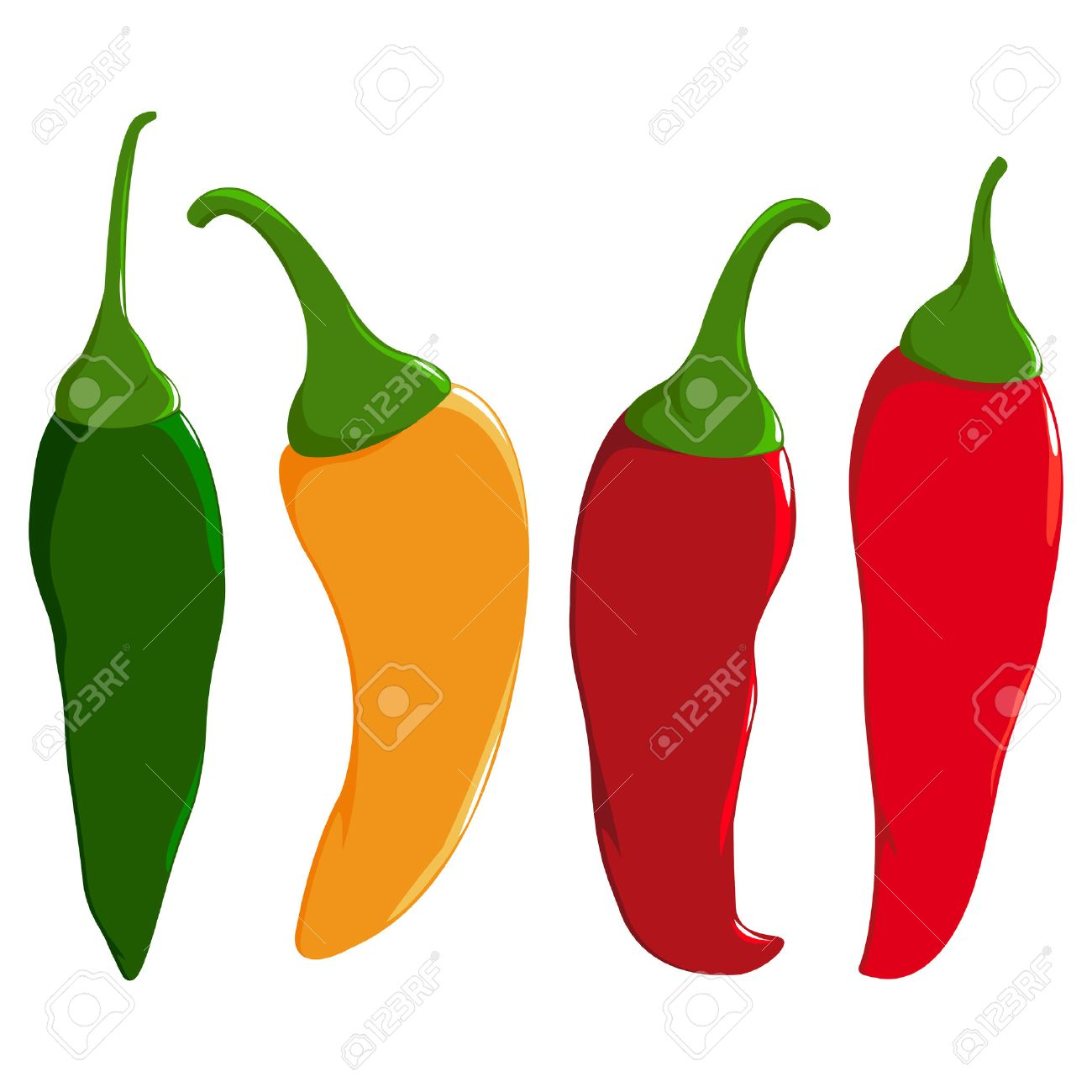 A set of hot chili peppers in four colors: red, green and yellow chili peppers. - 43692665