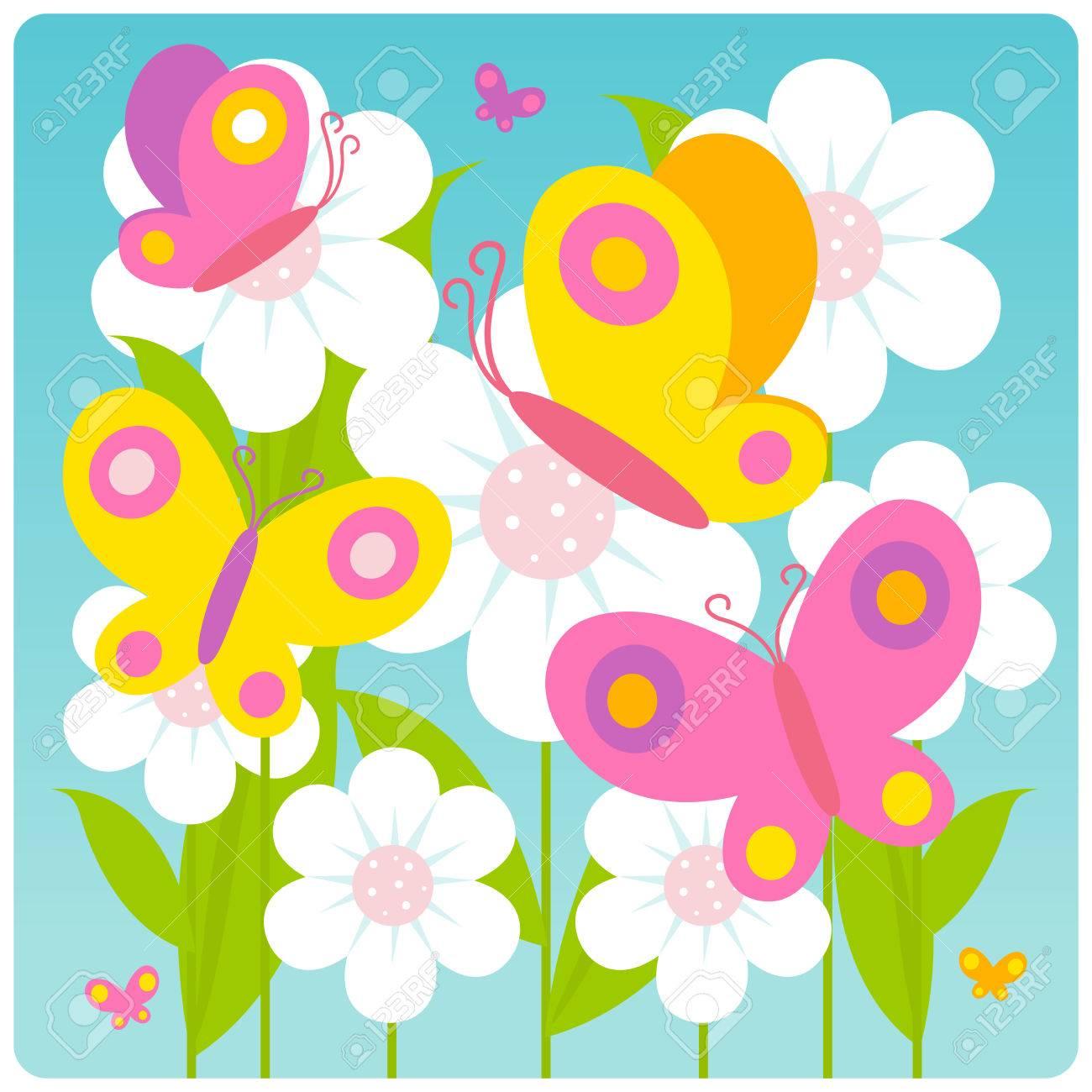 Papillons qui volent sur les fleurs blanches au printemps Banque d\u0027images ,  44189268