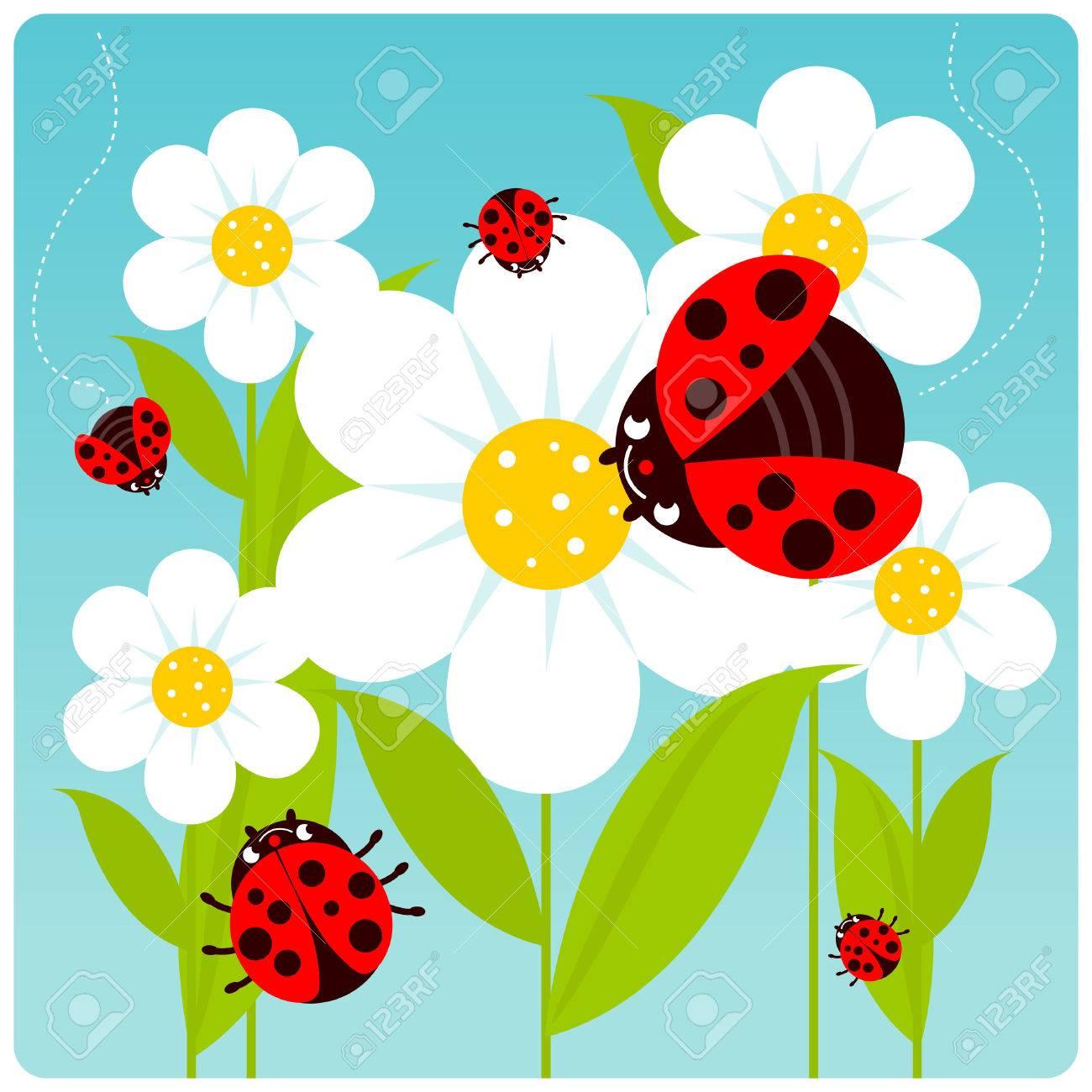 Ladybugs flying on white flowers in springtime - 44189273