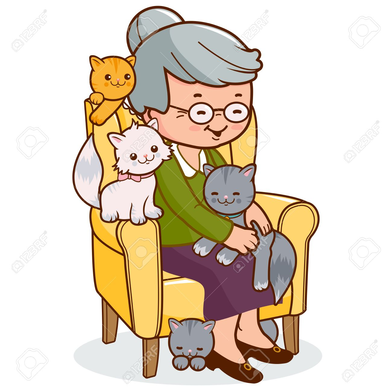Old woman sitting in armchair with cats. - 45529513