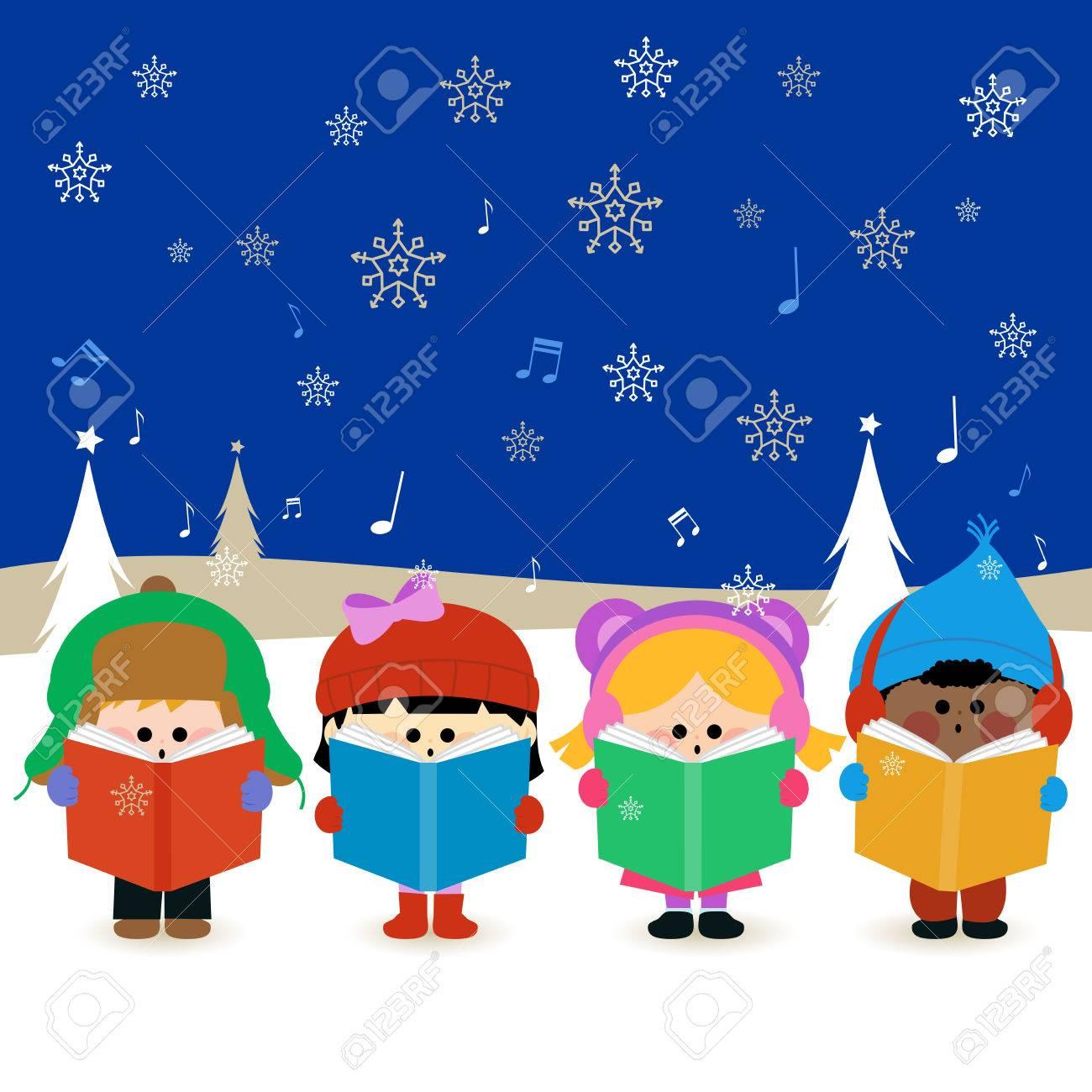 Group of children singing Christmas carols - 46487661
