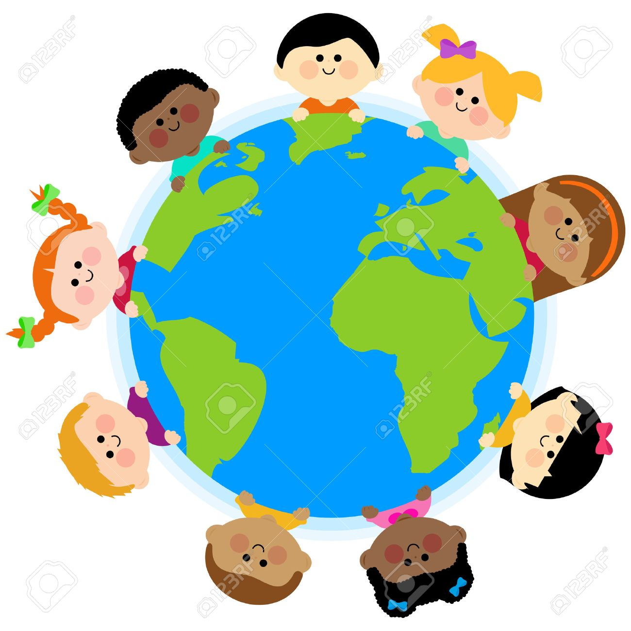 Multi ethnic group of kids around the earth - 46490863