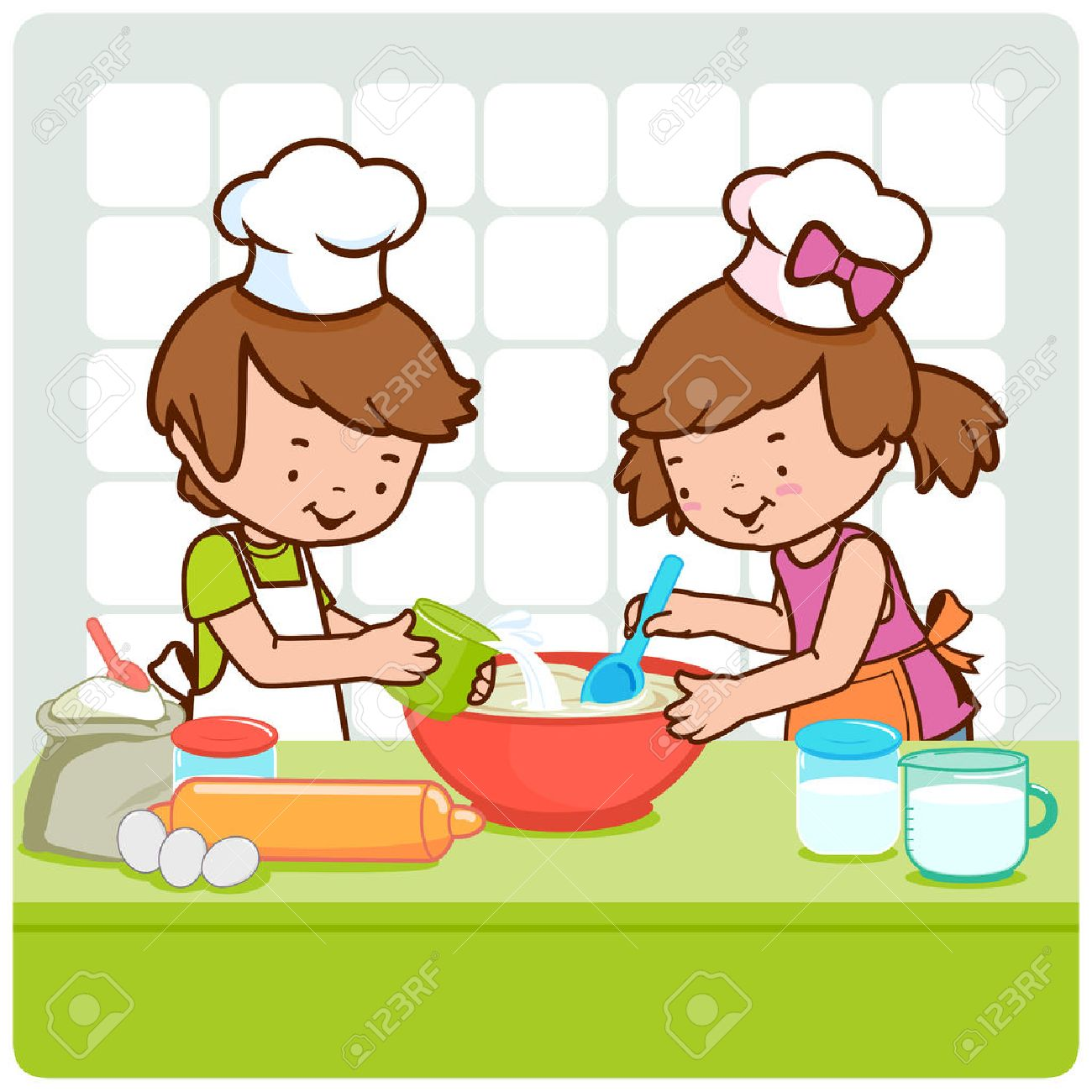 children cooking in the kitchen royalty free cliparts vectors and rh 123rf com Cooking Utensils Clip Art Cooking Clip Art Borders