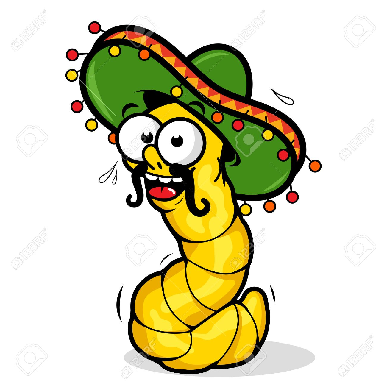 Cartoon tequila worm wearing a sombrero. - 46750474