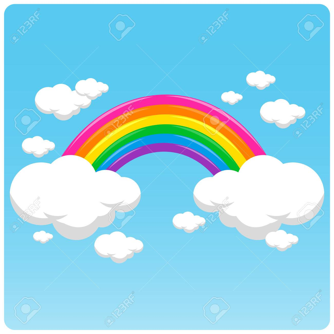 Vector illustration of a rainbow and clouds in the sky. - 46750520