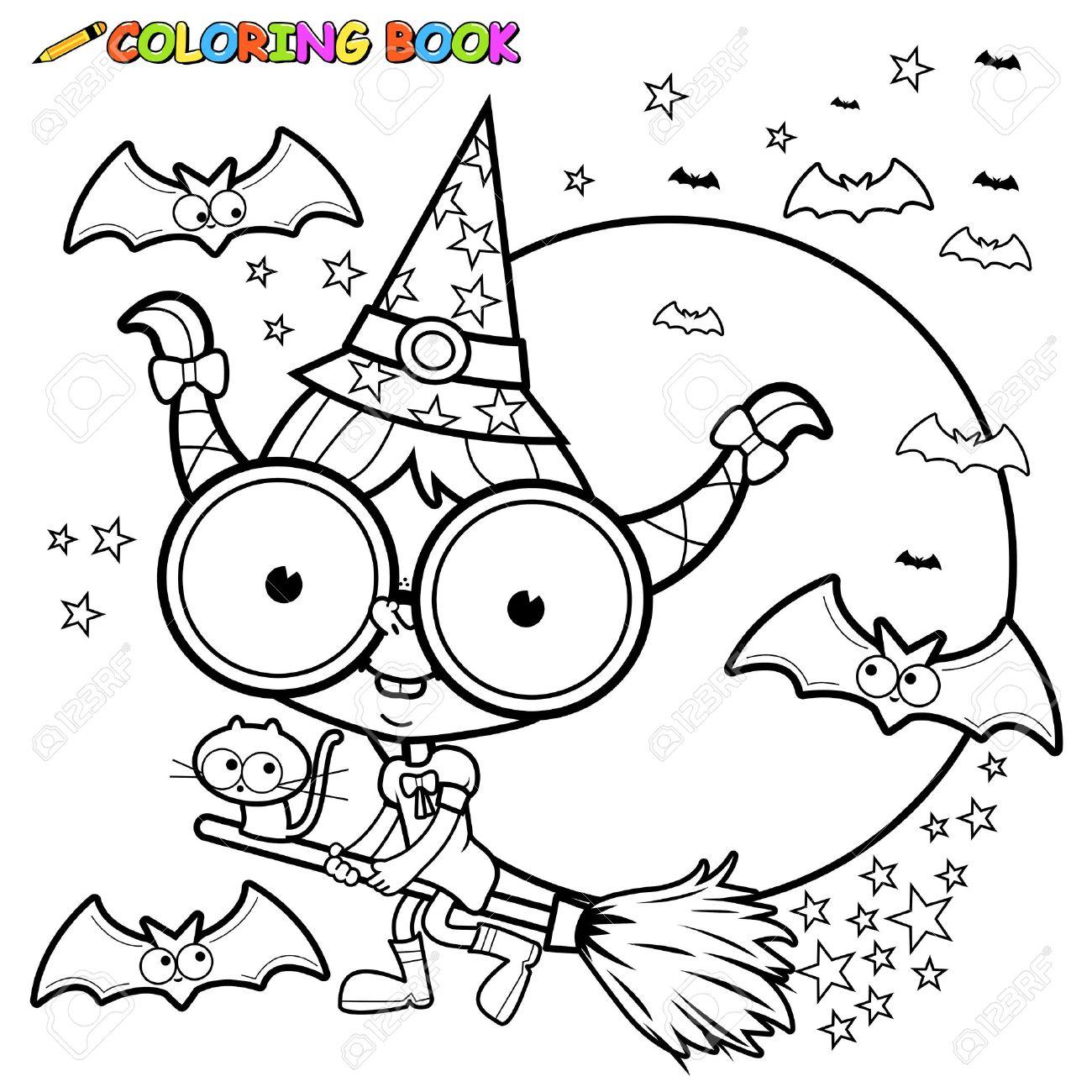 Foto de archivo , Dibujo para colorear Bruja de Halloween volar con una escoba.