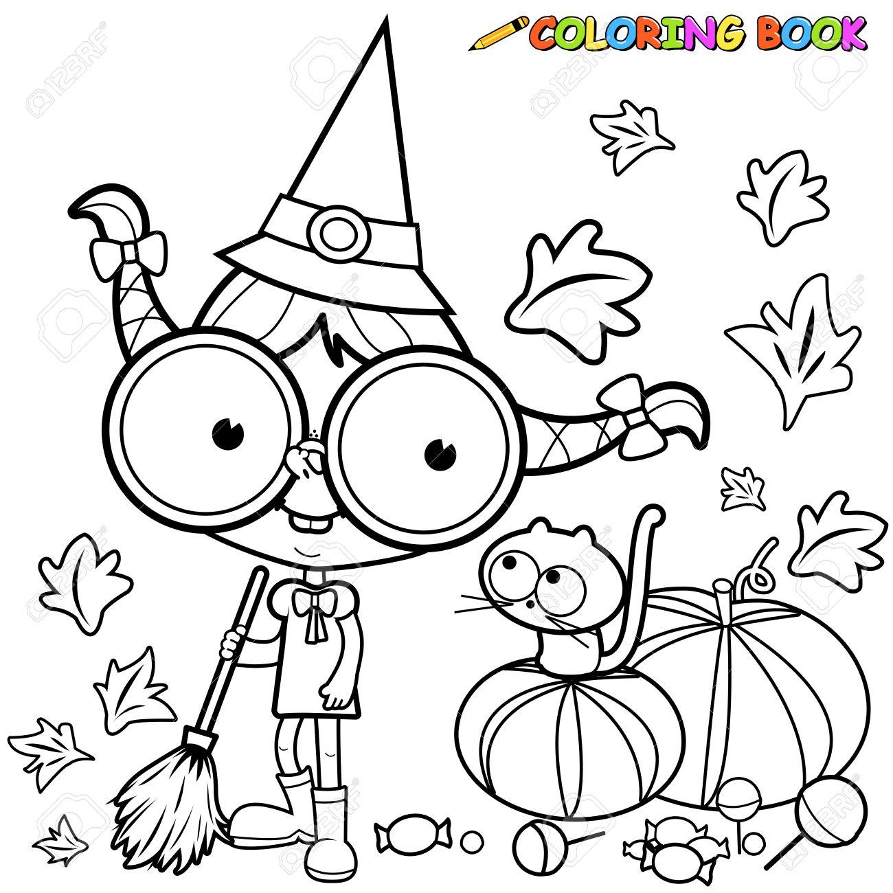 Dibujo para colorear bruja de Halloween barrer hojas de calabaza. Foto de archivo , 46750517
