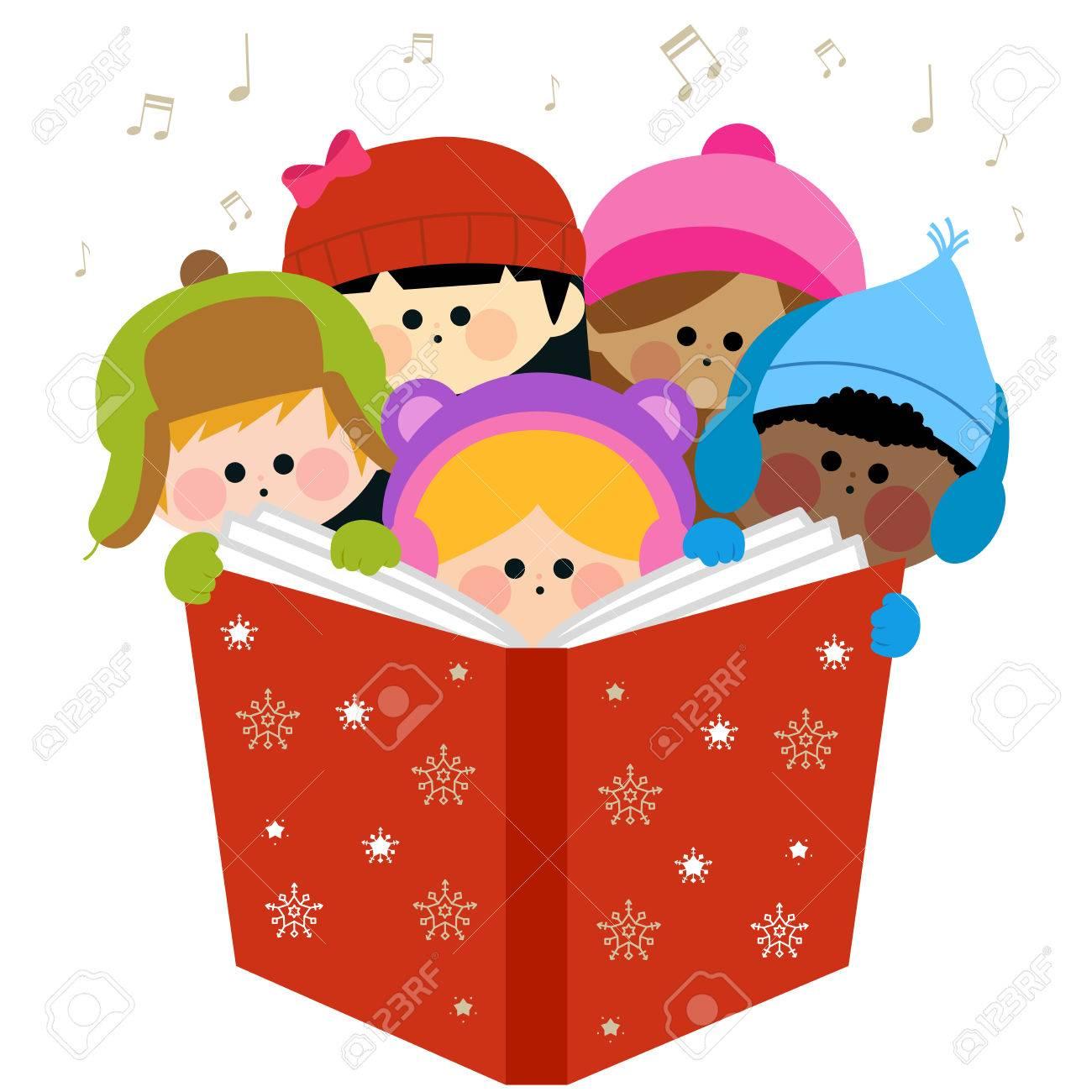 Kinder Singen Weihnachtslieder Zusammenhält Ein Großes Buch ...