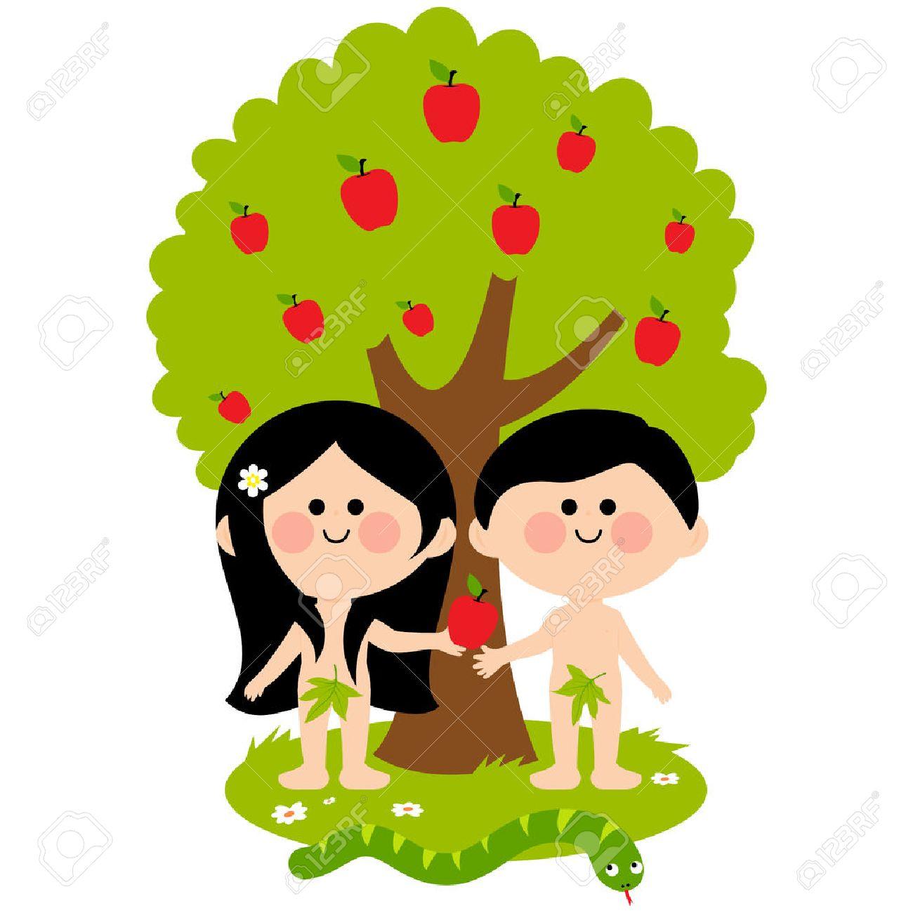 アダムとイヴと蛇リンゴの木の下 イブ アダムを与えるアップル の
