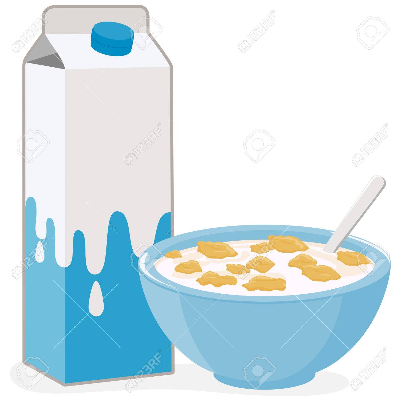 Vector illustration of a bowl of corn flakes cereal and a carton of milk. - 48589775