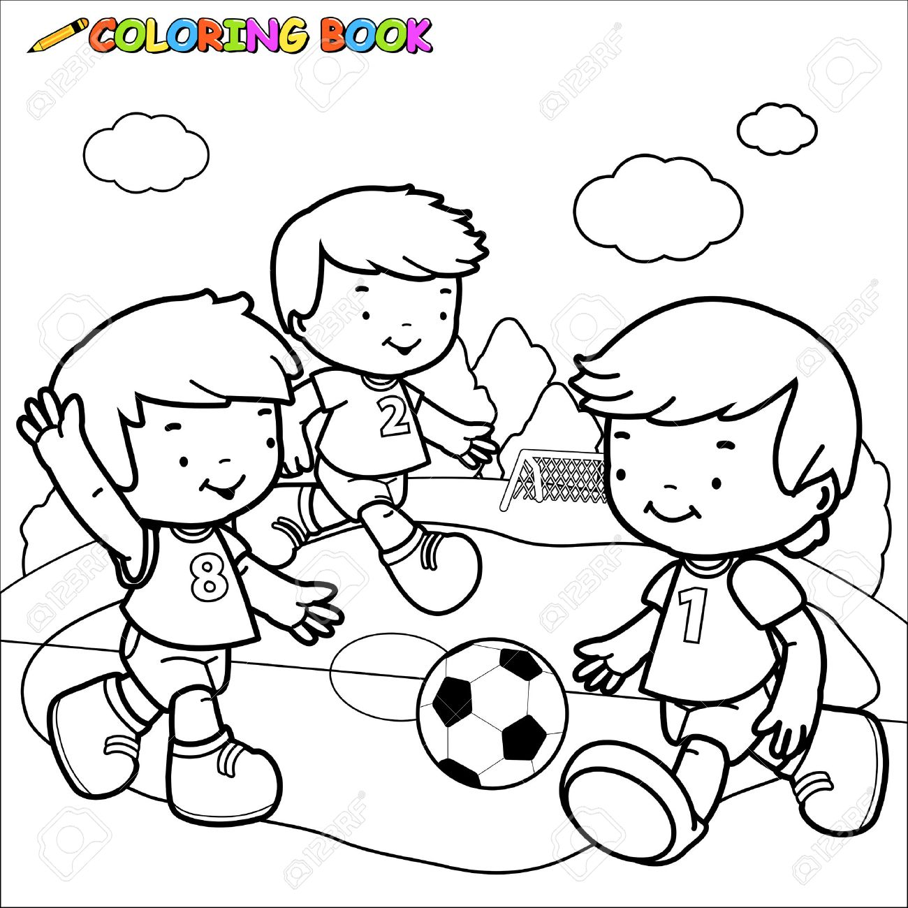 Black and white outline image of three little boys playing football - 49125812