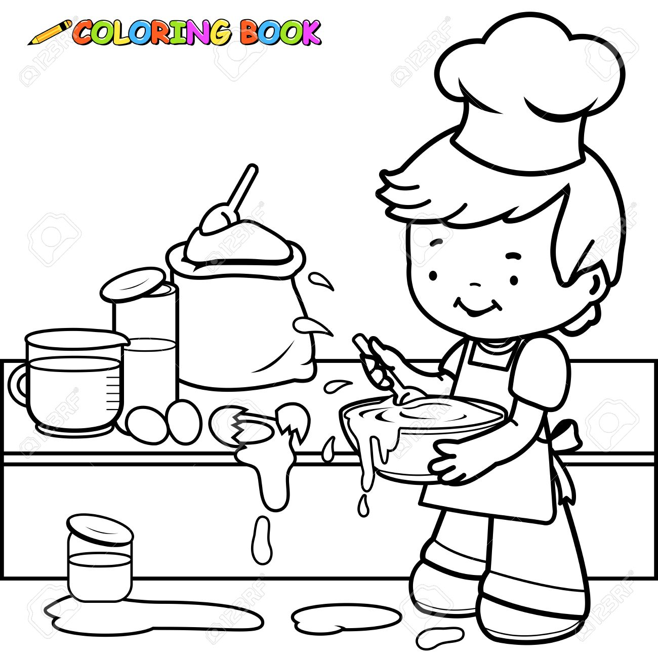 little boy cooking and making a mess coloring book page stock vector 49856114