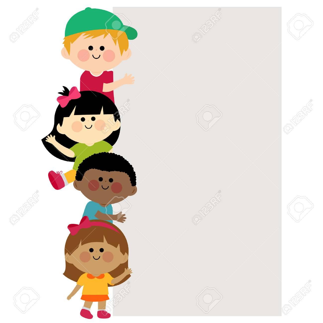 Multi ethnic group of kids holding vertical blank banner - 50050652