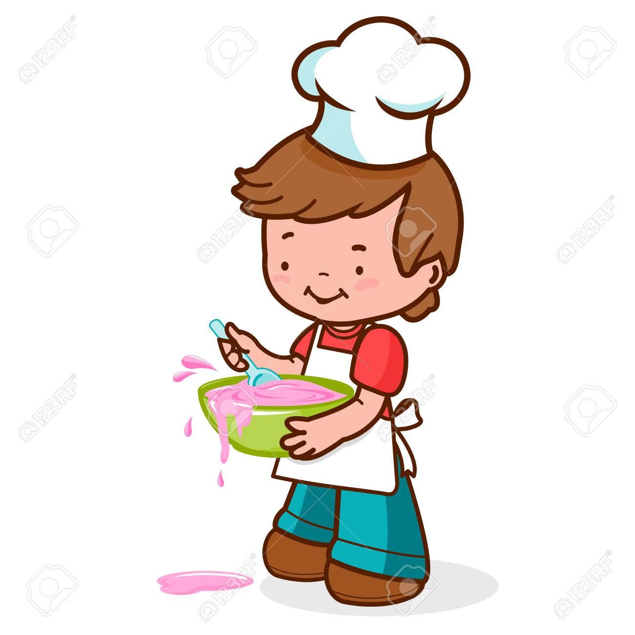 Niño Cocinar Y Hacer Un Desastre Ilustraciones Vectoriales Clip Art