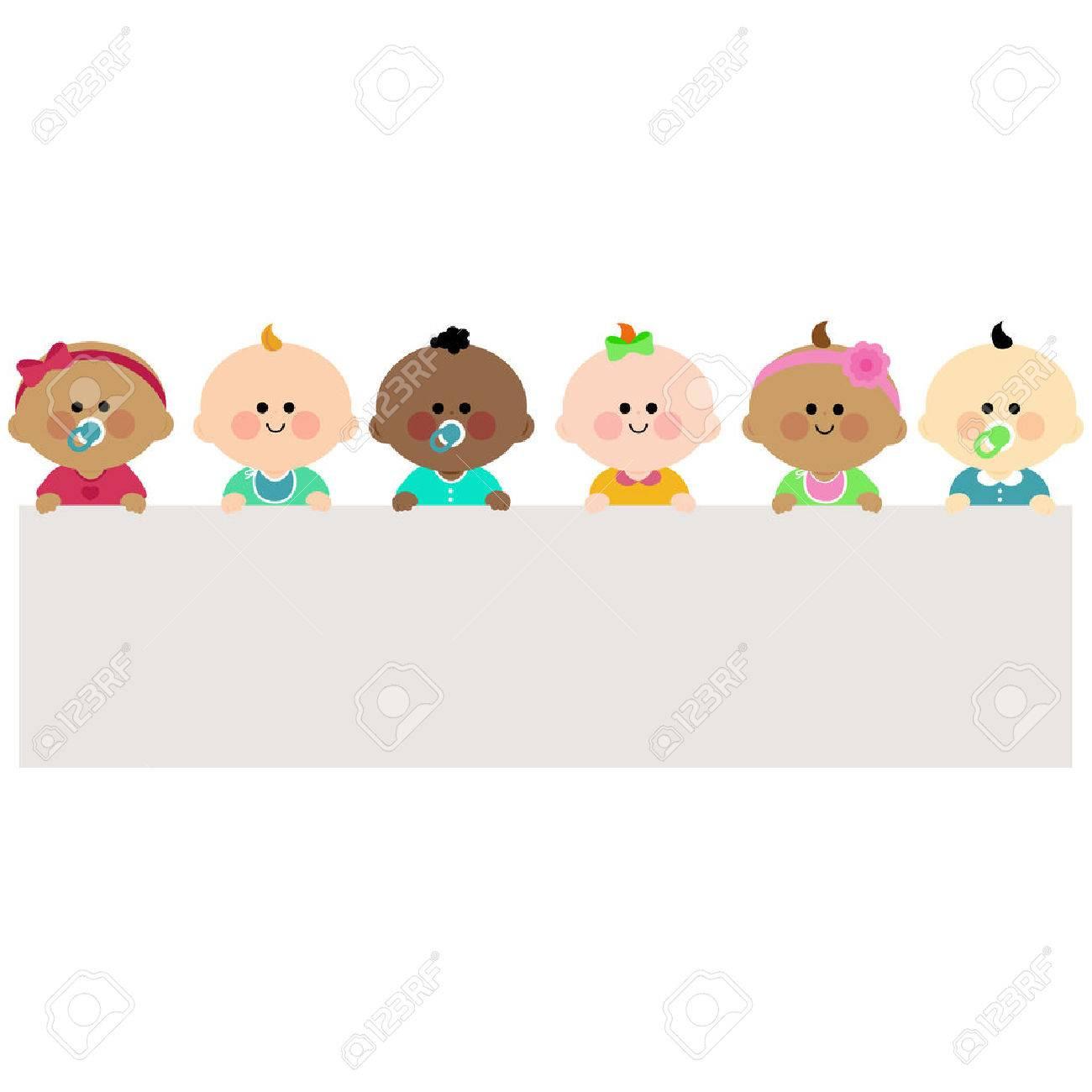 Babies holding horizontal blank banner - 50050665