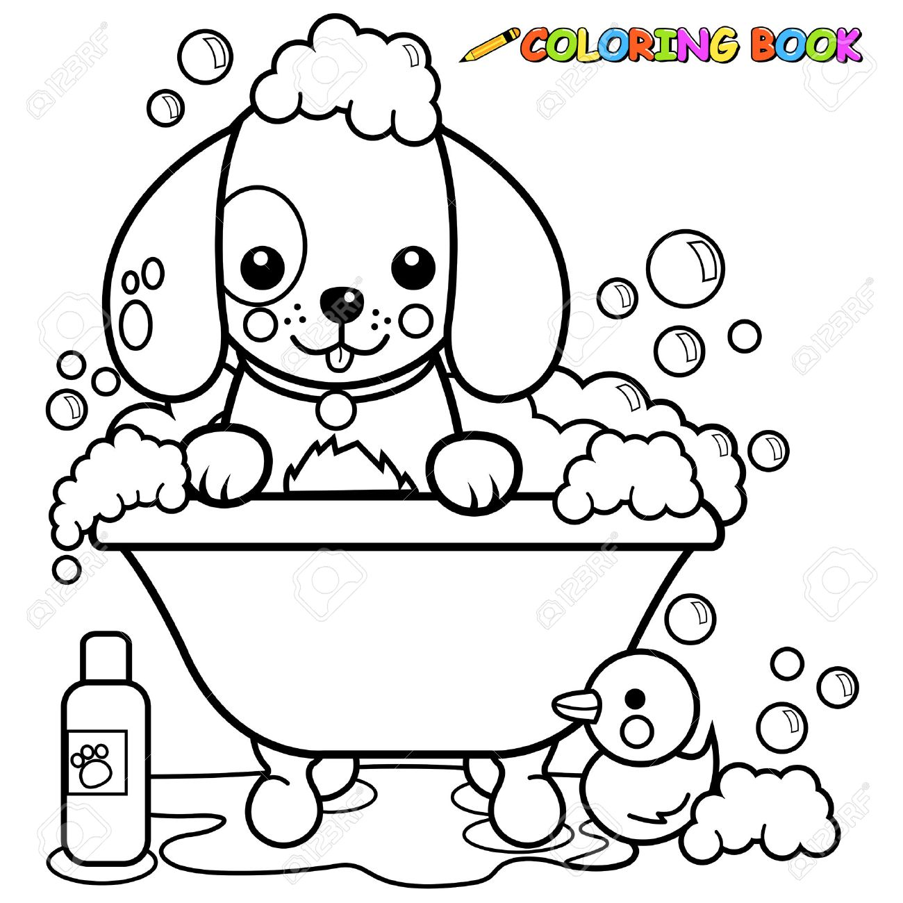 Dog taking a bath coloring book page - 50050666