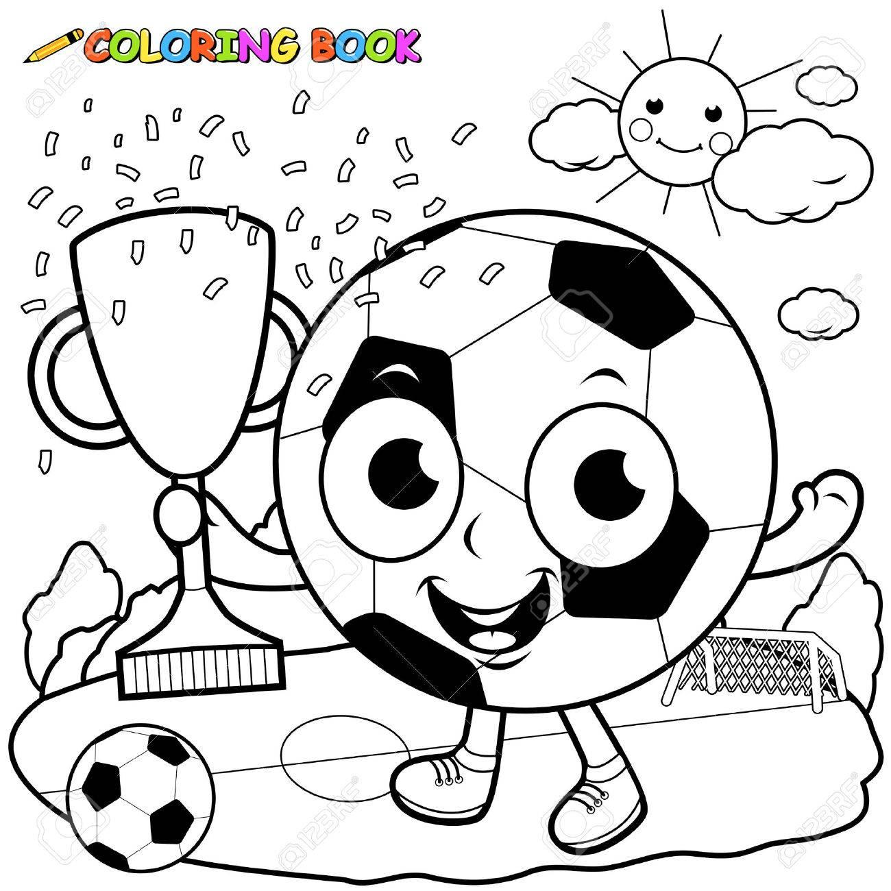 Meister-Cartoon Fußball Hält Trophäe Malbuch Seite Lizenzfrei ...