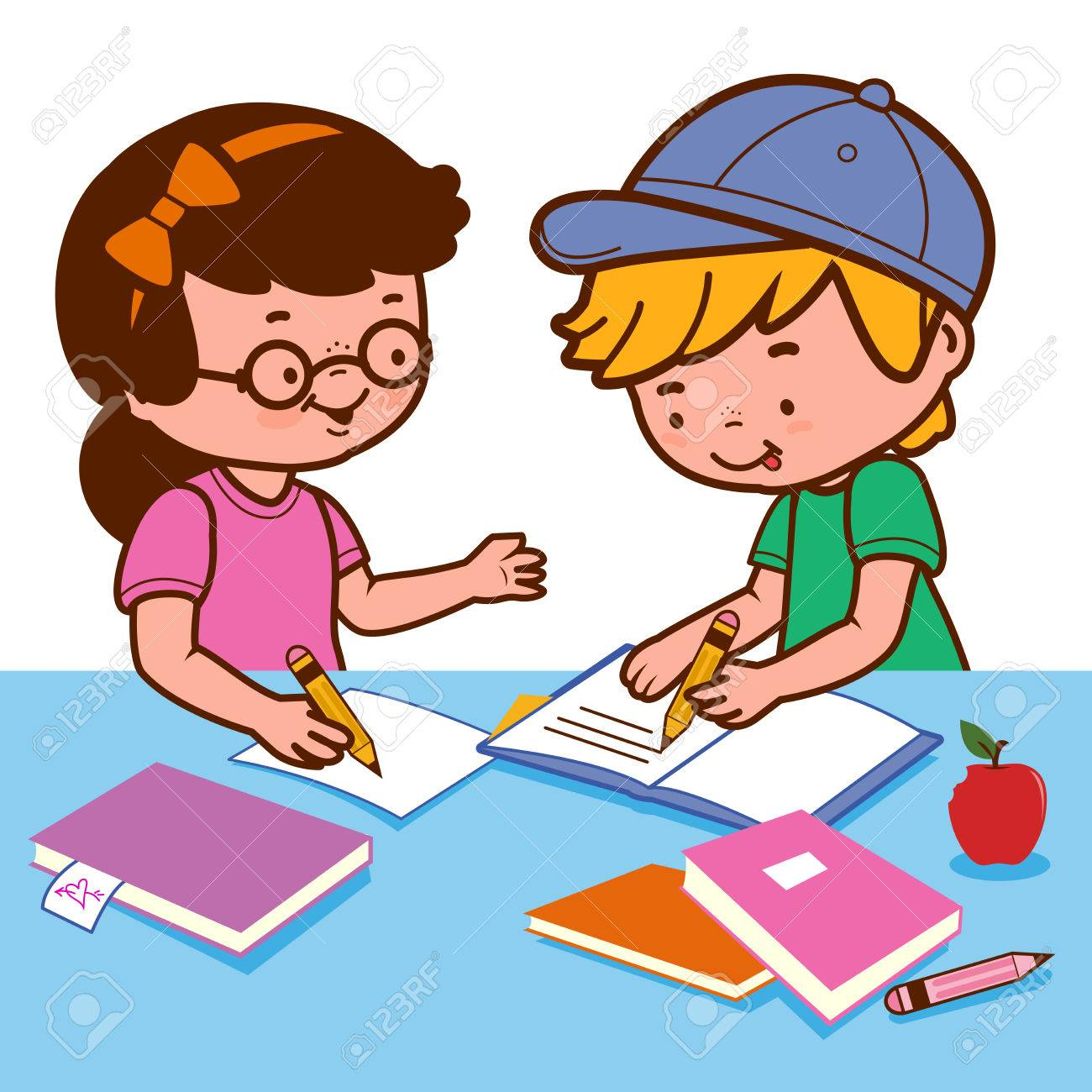 girl and boy doing homework royalty free cliparts vectors and rh 123rf com doing homework clipart black and white student doing homework clipart