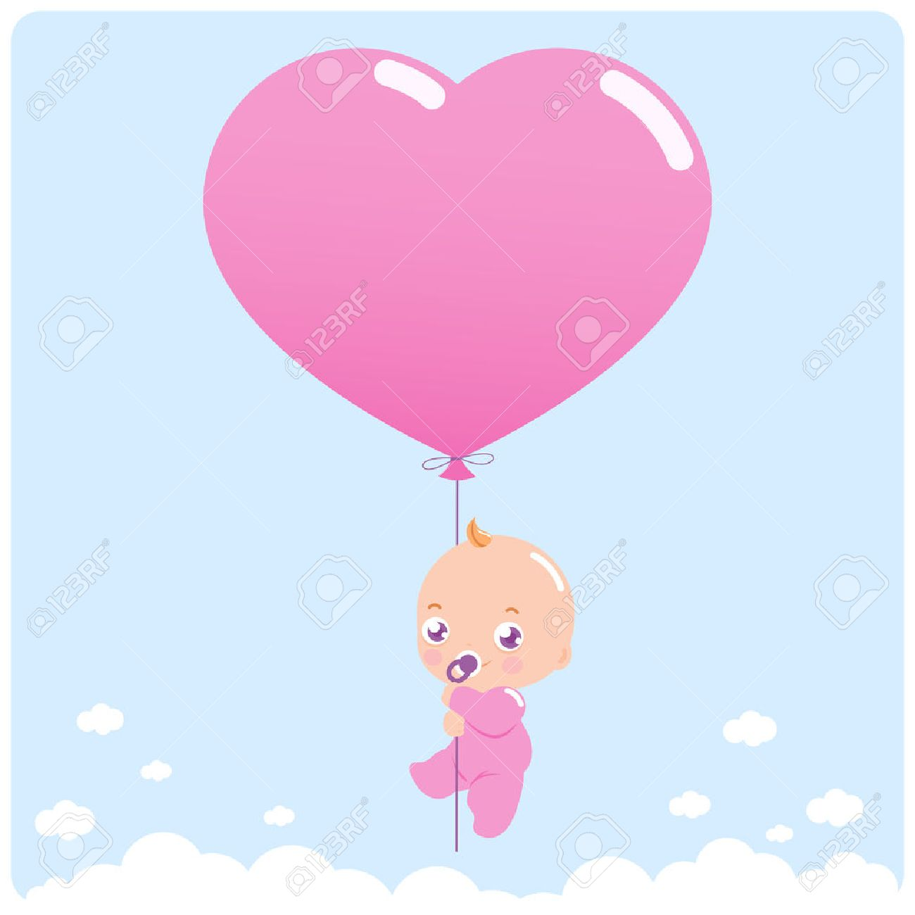 VÌ SAO NHO ? ......HÁT  - Page 4 52179740-newborn-baby-girl-flying-in-the-sky-holding-a-heart-shaped-balloon-