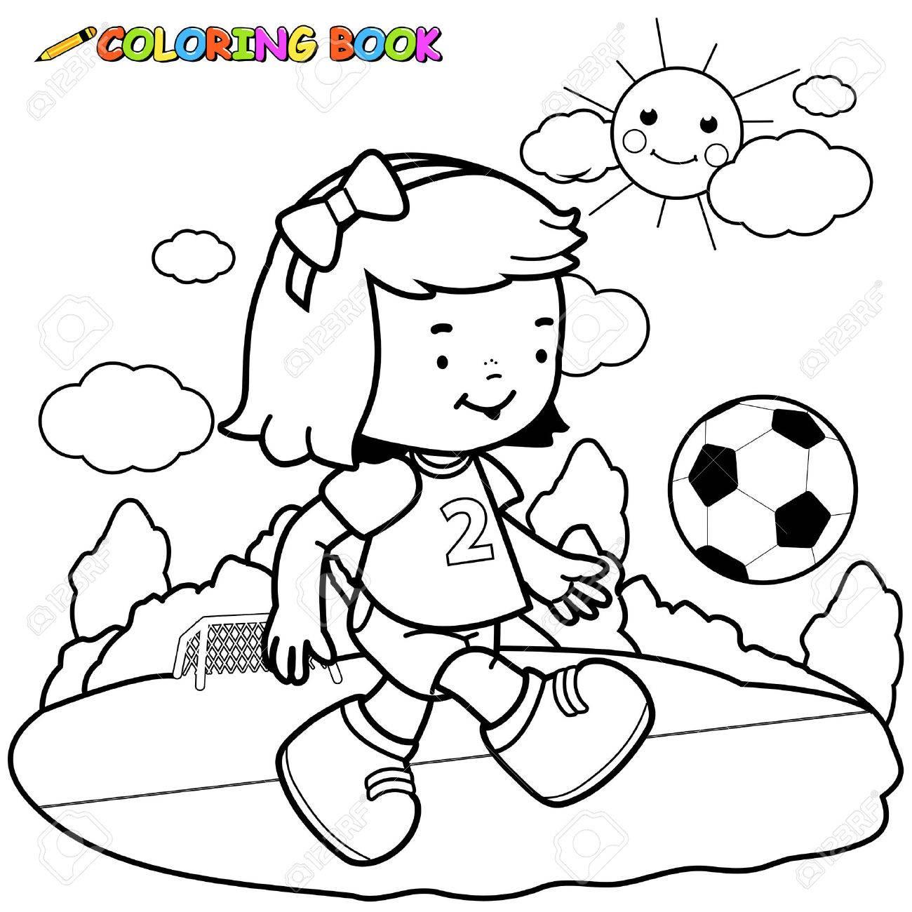 Mädchenfußballspieler Malvorlagen. Lizenzfrei Nutzbare ...