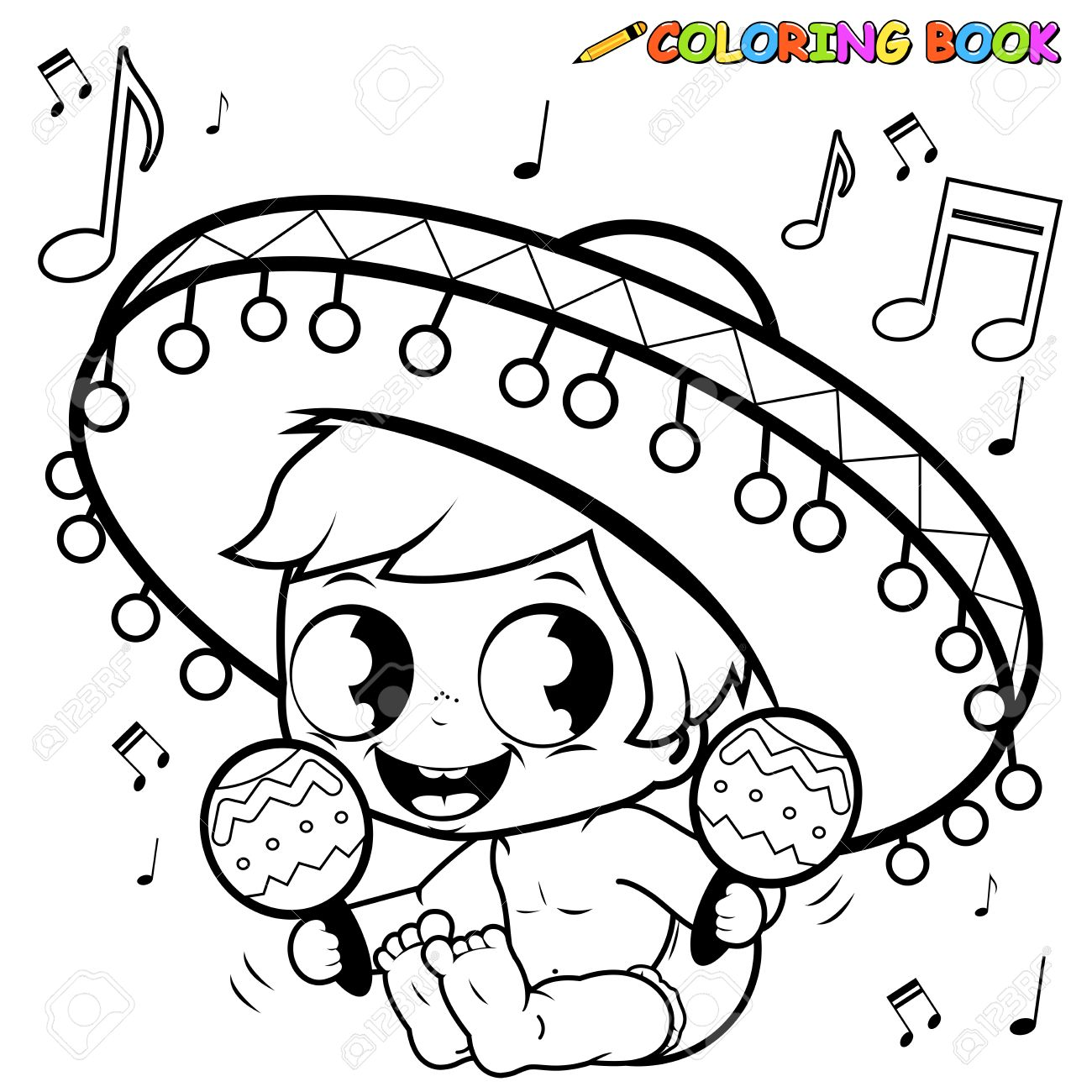 mariachi baby boy playing the maracas coloring page stock vector 53049739