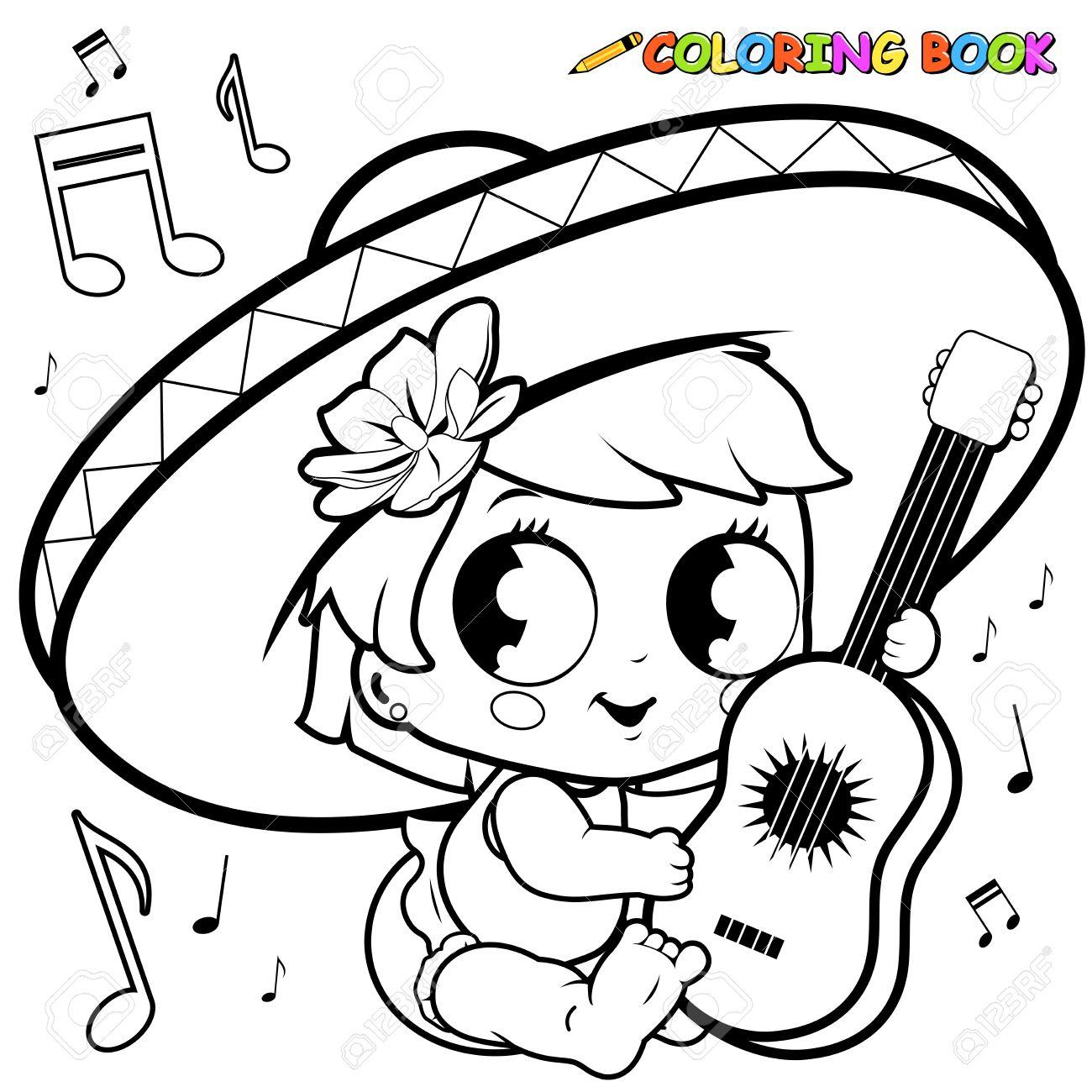 Mariachi Niña Bebé Que Juega La Página Para Colorear Guitarra ...