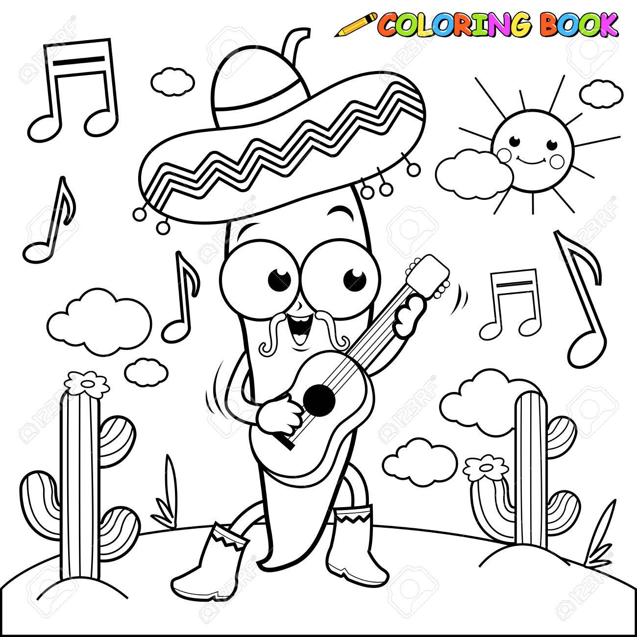 Mariachi Chili Pepper Playing The Guitar Coloring Page Royalty ...