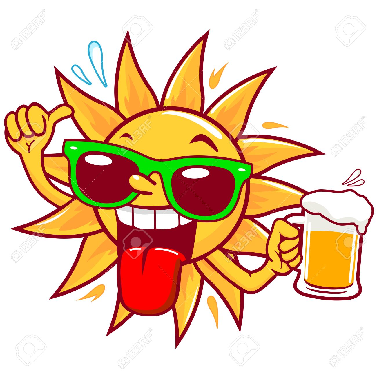 Cartoon sun with sunglasses drinking beer - 53647233