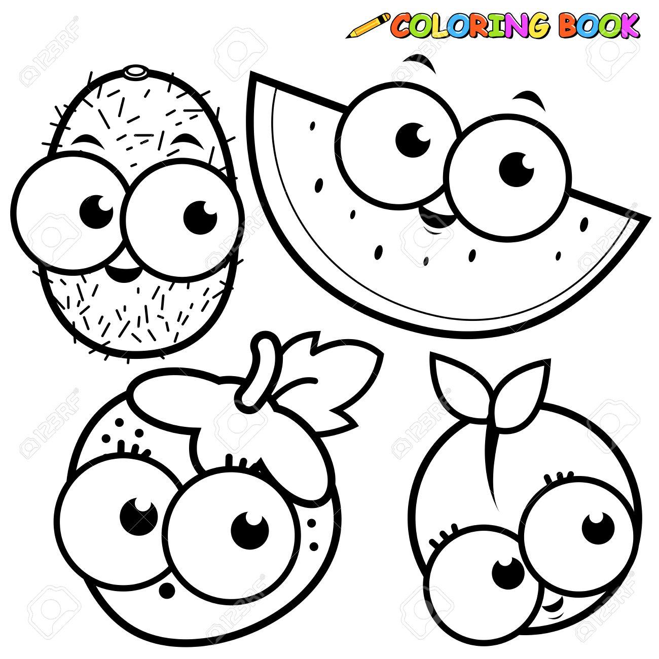 Libro Para Colorear Dibujos De Frutas Conjunto De Kiwi Fresa Sandía ...