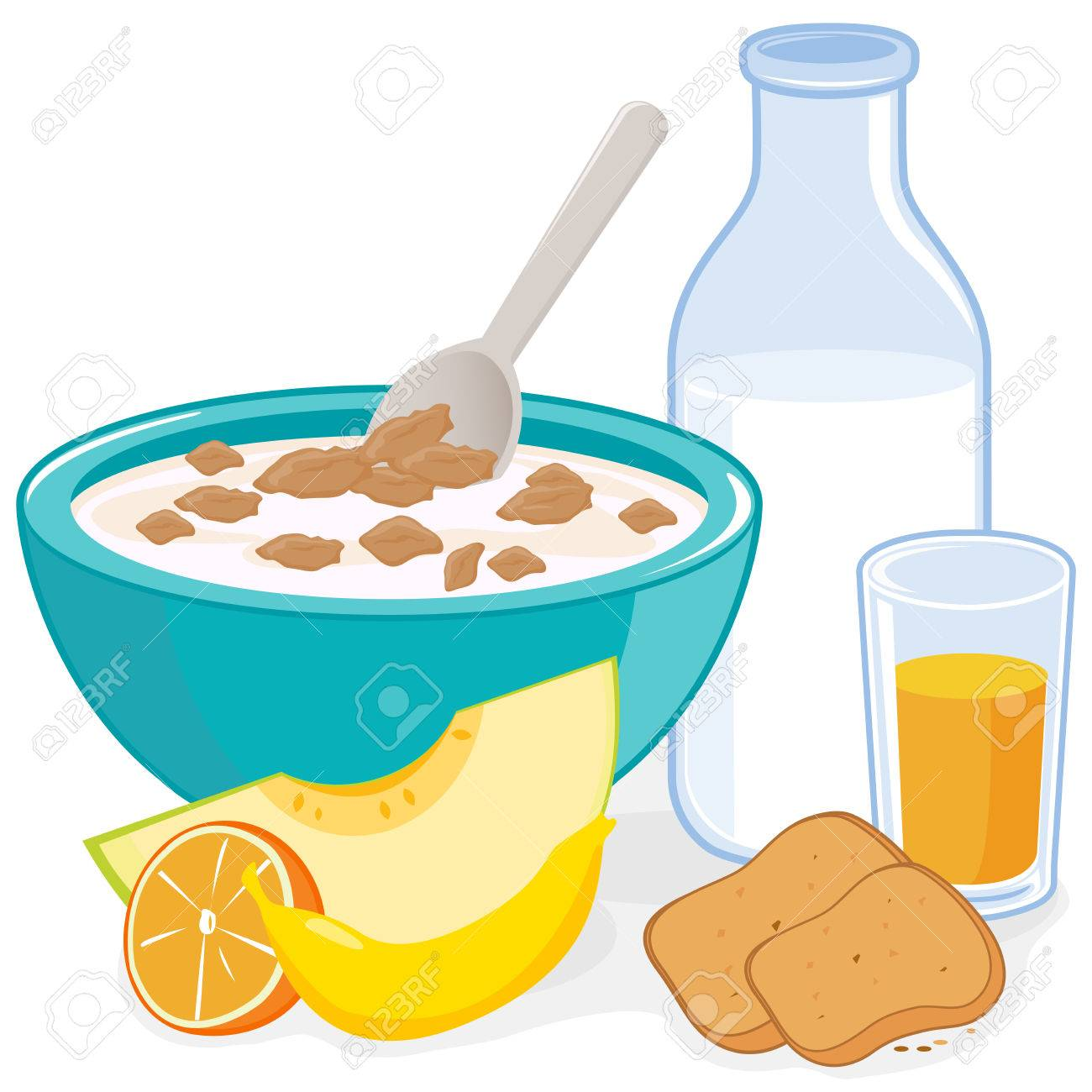 breakfast a bowl of cereal bottle of milk juice toast and rh 123rf com bowl of cereal clipart free